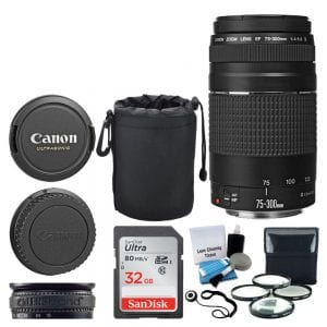 Canon EF 75-300mm f/4.0-5.6 III Lens + 32GB Memory Card + Soft Lens Pouch + 4 Piece Macro Filter Kit + Lens Band + 5 Piece Cleaning Kit + Lens Cap Holder - Deluxe Lens Accessory Bundle