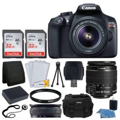 Canon EOS Rebel T6 Digital SLR Camera + Canon 18-55mm EF-S Lens + 48GB SDHC Card + 58mm UV Filters + Extra Battery + USB Card Reader + Vivitar Gadget Bag – Large + Screen Protectors + Bundle
