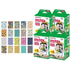 Fujifilm instax mini Instant Film (80 Exposures) + 20 Sticker Frames for Fuji Instax Prints Travel Package