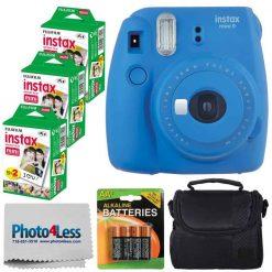 Fujifilm instax mini 9 Instant Film Camera (Cobalt Blue) + Fujifilm Instax Mini Twin Pack Instant Film (60 Exposures) + Compact Camera Case + AA Batteries + Cloth - International Version (No Warranty)