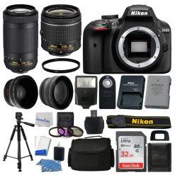 Nikon D3400 Digital SLR Camera 32GB 4 Lens Kit: 18-55mm VR + 70-300mm Best Value