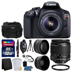 Canon EOS Rebel T6 Digital SLR Camera Body & 18-55mm EF-S f/3.5-5.6 IS II Lens + Wide Angle Lens + Telephoto 2x Lens + Gadget Bag + 58mm UV Filter + 32GB SDHC Memory Card + Complete Accessory Bundle