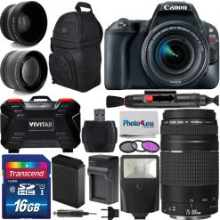 Canon EOS Rebel SL2 EF-S 18-55mm STM Kit + Canon EF 75-300mm f/4-5.6 III Telephoto Zoom Lens + Deluxe Bundle Kit