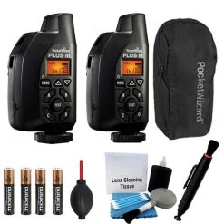 2 Pocket Wizard Plus III Transceiver and Receiver - 801-130 With Pocket Wizard Case & Camera Lens Cleaning Accessory Kit