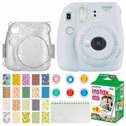 Fujifilm Instax Mini 9 Instant Camera (Smokey White) + Fujifilm Instax Mini Twin Pack Instant Film (20 Exposures) + Glitter Hard Case + Colored Filters + Album (White) + Sticker Frames Nature Package