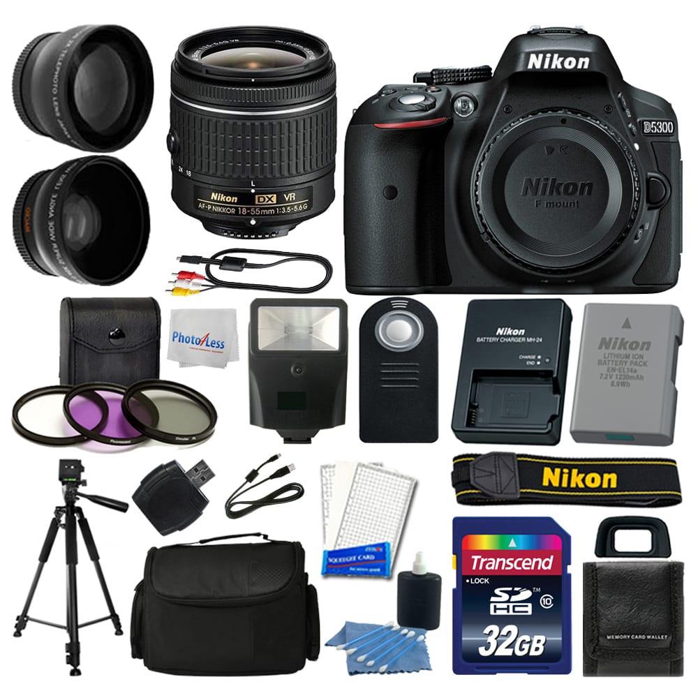 Nikon D5300 Digital SLR Camera + 3 Lens Kit 18-55mm + 32GB Amazing Value  Bundle - International Version (No Warranty)