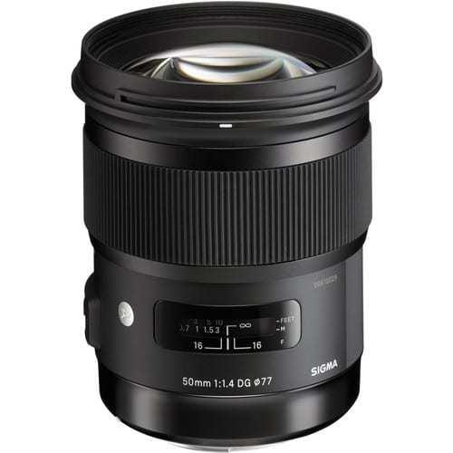 Sigma 50mm f/1.4 DG HSM Art Lens for Nikon F + 32GB Memory Card + 12-Inch Flexible Tripod + 77mm UV Filter + USB Card Reader + Lens Band + Memory Card Wallet + Lens Cleaning Pen + Lens Cap Holder