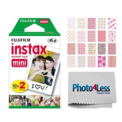 Fujifilm instax mini Instant Film (20 Exposures) + 20 Sticker Frames for Fuji Instax Prints Baby Girl Themed Package + Photo4Less Cleaning Cloth – Deluxe Accessory Bundle