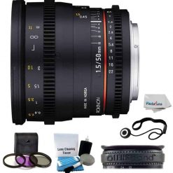 Rokinon 50mm T1.5 Cine Full Frame Lens For Canon EF Mount + UV,Polarizer 3 Piece Filter Kit + Lens Band + Lens Cap Holder + 5 Piece Camera & Lens Cleaning Kit with Photo4Less Cleaning Cloth