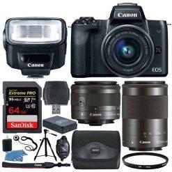 Canon EOS M50 Mirrorless Camera Kit w/  EF-M15-45mm + EF-M 55-200mm Lenses and 4K Video (Black)