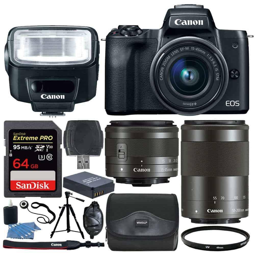 9fc9ffcee323 Photo4Less | Canon EOS M50 Mirrorless Camera Kit w/ EF-M15-45mm + EF ...