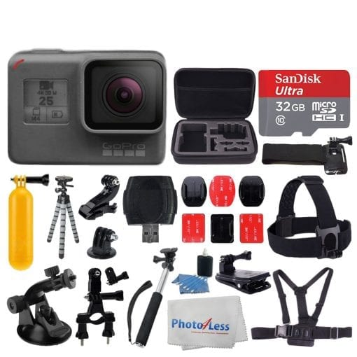 GoPro HERO5 Black Sports Action Video Camera – Waterproof to 33′, Wi-Fi, Bluetooth & GPS +Ultra 32GB Card + Extendable Monopod + Flexible Tripod + Chest & Head Strap + Jaw Clamp + Accessories