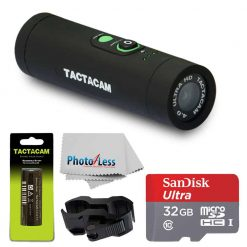 TACTACAM 4.0 With Flat Black Stabilizer + TACTACAM Rechargeable Battery + Ultra 32GB microSDHC UHS-I Card with Adapter + Custom Gun Mount/Scope Mount + Cleaning Cloth - Full Accessory Bundle