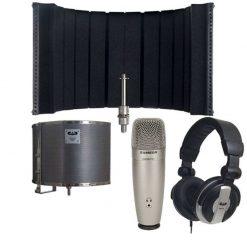 CAD Audio AS32 Acousti-Shield 32 Stand Mounted Acoustic Enclosure Bundle + Samson C01U Pro USB Studio Condenser Microphone + CAD Audio MH110 Closed Back Studio Headphones