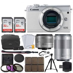 Canon EOS M100 Mirrorless Digital Camera (White) + EF-M 15-45mm f/3.5-6.3 IS STM Lens (Graphite) + EF-M 55-200mm f/4.5-6.3 IS STM Lens + 32GB Memory Card + Tripod + 12 Piece Card Holder + UV Filters