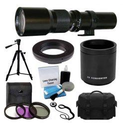 500mm -1000mm f/8.0 High Definition Multi Coated Telephoto Lens with 2X Multiplier Converter + 3 Piece UV Filter Kit + High Quality Tripod + Digital SLR Large Gadget Bag + T-Mount Adapter + Bundle