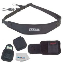 Op/Tech Utility Strap-Sling + Battery Holster + Media Holster, Holds Card Case Set of 2 + Photo4Less Cleaning Cloth