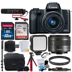 Canon EOS M50 Video Creator Kit with EF-M15-45mm Lens, 4K Video Capture, Rode VIDEOMIC GO, and 32GB Sandisk Memory Card (Black)