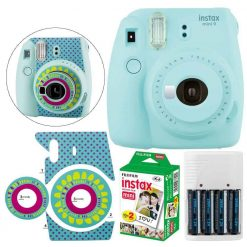 Fujifilm instax mini 9 Instant Film Camera (Ice Blue) + Fujifilm Instax Mini Twin Pack Film (20 Shots) - Deluxe Valued Bundle - International Version (No Warranty)