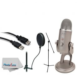 Blue Yeti USB Microphone (Platinum) + Tripod Base Mic Stand + High Speed USB Extension Cable + On Stage Dual-Screen Pop Blocker + Photo4Less Camera & Lens Cleaning Cloth – Accessory Bundle