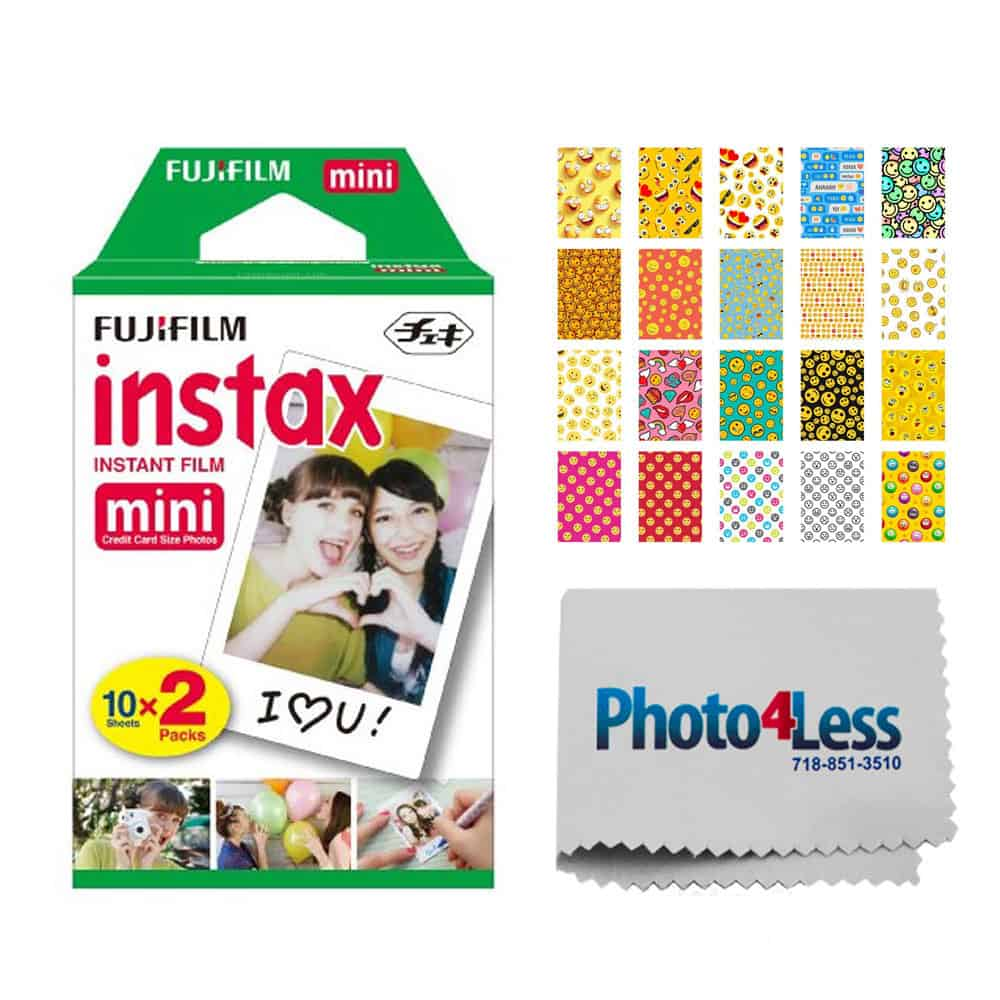 Fujifilm instax mini Instant Film (20 Exposures) + 20 Sticker Frames for Fuji Instax Prints Emoji Package + Photo4Less Cleaning loth – Deluxe Accessory Bundle