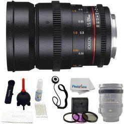 Rokinon Full Frame DS 24mm T1.5 Cine Lens for Canon EF + UV,Polarizer ,FLD + Lens Cap Holder + Lens Band + Giotto Rocket Blaster Kit + Photo4Less Cleaning Cloth
