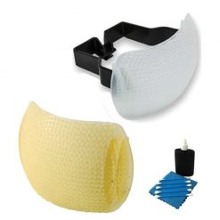 Gary Fong Puffer Plus Pop Up Flash Diffuser For Canon 70D, T5i 7D, T5,T5i,T6i,T6s ,T3 T3i 6D + Warming Shield Flash Diffuser (Amber) + 3 Piece Camera & Lens Cleaning Kit