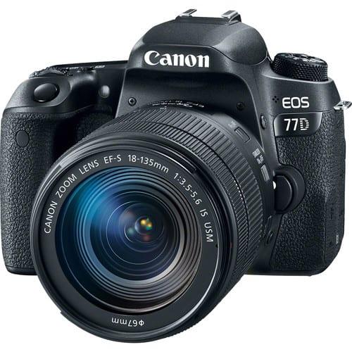 Canon EOS 77D DSLR Camera + EF-S 18-135mm f/3.5-5.6 IS USM Lens + Wide Angle & Telephoto + 64GB Memory Card + Quality Tripod + Vivitar Gadget Bag + Slave Flash + Card Reader - Valued Accessory Bundle