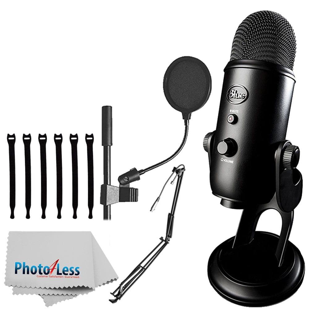"Blue Yeti USB Microphone (Blackout) + On-Stage MBS5000 Broadcast/Webcast  Boom Arm w/ XLR Cable + On Stage Pop Blocker 4"" + Op/Tech Strapeez +"