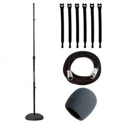 Ultimate Support JS-MCRB100 Round Base Microphone Stand w/ Adjustable Height + Foam Windscreen + Mic Cable, 20 ft. XLR + Strapeez, Black - Musical Accessory Bundle