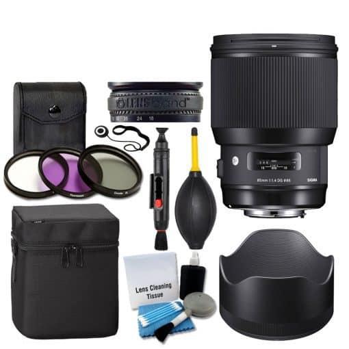 Sigma 85mm f/1.4 DG HSM Art Lens for Canon EF + 3 Piece UV Filter 86mm + Lens Case + Lens Hood + Lens Band + 5 Piece Cleaning Kit + Dust Blower + Cleaning Pen – Ultimate Lens Accessory Bundle
