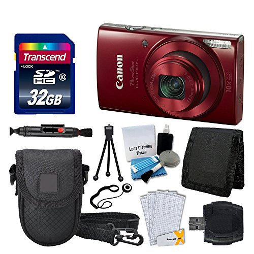 Canon PowerShot ELPH 190 IS Digital Camera (Red) – Great Value Accessory Bundle
