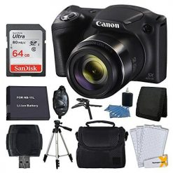 Canon PowerShot SX420 20 MP Digital Camera (Black) + 64GB SDHC Memory Card + Deluxe Carrying Case + Extra Battery + 50 Quality Tripod + Hand Grip + Cleaning Kit + Complete Accessories