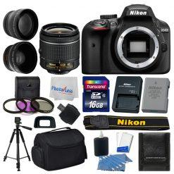 Nikon D3400 Digital SLR Camera 3 lens 18-55mm VR +16GB +More Great Value Kit!