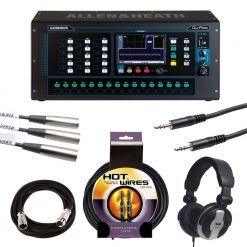 Allen & Heath Qu-Pac-16-In/12-Out Compact Mountable Mixer + Studio Headphones + TRS Stereo Interconnect Cable + 4 Instrument Cables + 4 XLR Cables + Valued Bundle