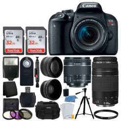 Canon EOS Rebel T7i Digital SLR Camera + EF-S 18-55mm IS STM Lens + EF 75-300mm III Lens + 64GB Memory Card + Slave Flash + Quality Tripod + Camera Bag + Wireless Remote + Deluxe Accessory Bundle