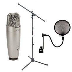 Samson C01U Pro USB Studio Condenser Microphone + On Stage MS7701B Euro Boom Microphone Stand+ 15A Pop Filter on 15-Inch Gooseneck