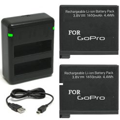 2 Rechargeable Replacement Battery Pack and Dual Charger for GoPro HERO4 Black Edition. Silver Edition GoPro AHDBT-401, AHBBP-401 3.8V 1600 mAh