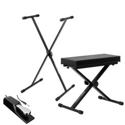 Ultimate Support JSXS300 Single Brace X-Style Keyboard Stand + Medium Keyboard Bench + Alesis ASP-2 Universal Sustain Pedal