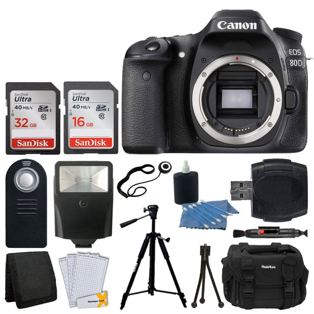 Canon EOS 80D DSLR Camera Body + 48GB SDHC Card + Slave Flash + Quality  Tripod + DSLR Case + Card Reader + Wireless Remote + Cleaning Kit + Memory