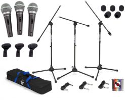 Samson Q6 Dynamic Supercardioid Handheld Mic (3-pack) + Samson Boom Stand & Cable (3-Pack) BL3VP + Samson Windscreen (5 pack) + 10 Rip-Tie Lite 1/2 x 6 Light-duty Straps (Rainbow) + Photo4Less Cloth!