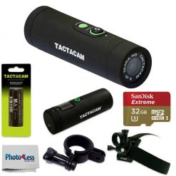 Tactacam TA-5-WIDE Package Battery, Head & Universal Mount +Tactacam Remote + Ultra 32GB microSDHC UHS-I Card w/ Adapter + Photo4Less Cleaning Cloth
