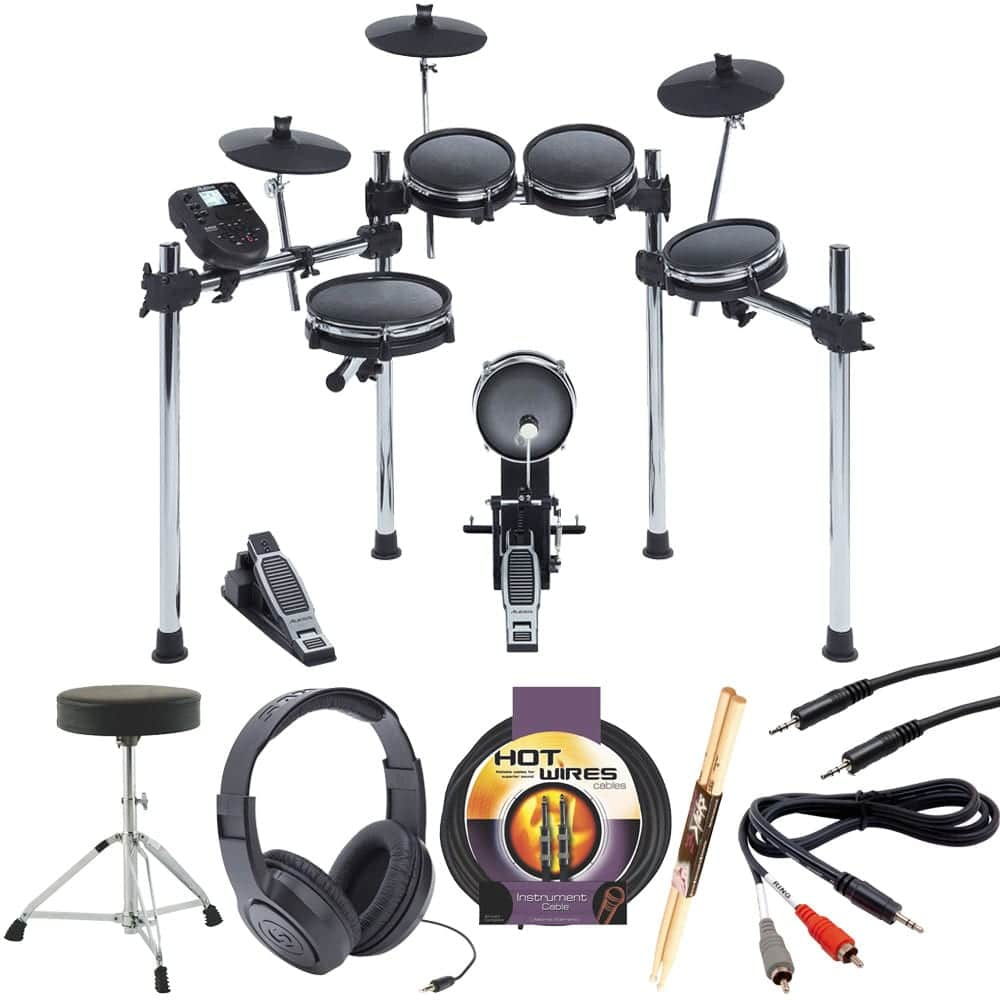 Alesis SURGE MESH KIT Eight-Piece Electronic Drum Kit with Mesh Heads +Drum  Throne +Samson Stereo Headphones+ Instrument Cable+ Stereo Interconnect