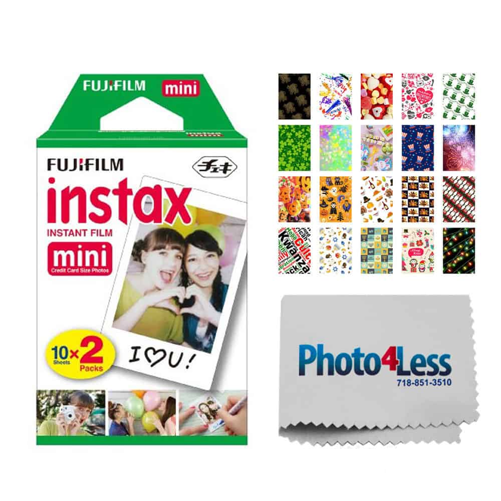 Fujifilm instax mini Instant Film (20 Exposures) + 20 Sticker Frames for Fuji Instax Prints Holiday Package + Photo4Less Cleaning Cloth – Deluxe Accessory Bundle