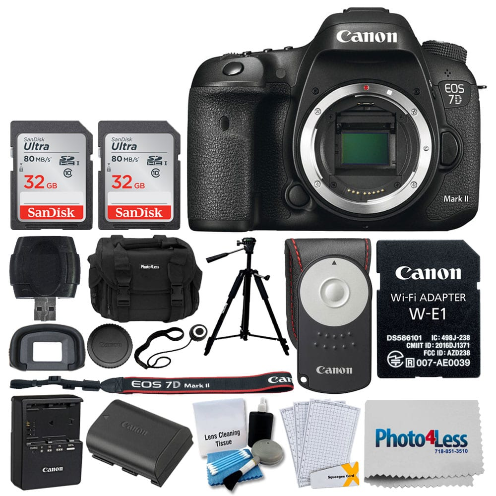 Canon EOS 7D Mark II DSLR Camera Body with W-E1 Wi-Fi Adapter + 64GB Memory  Card + Canon RC-6 Wireless Remote + Digital SLR Gadget Bag + Photo/Video