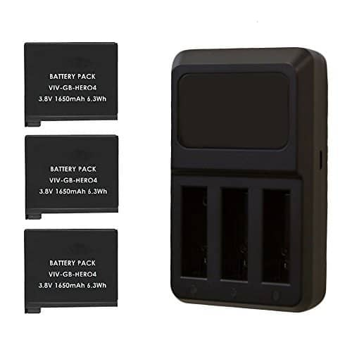 Triple Battery Charger (Black) Compatible with GoPro Hero4 Camera + 3 Rechargeable Replacement Battery Packs for GoPro Hero4 + Great Valued Bundle
