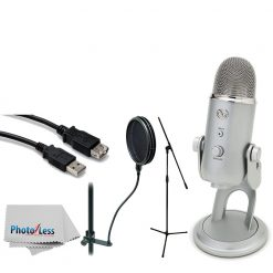 Blue Yeti USB Microphone (Silver) + Tripod Base Mic Stand + High Speed USB Extension Cable + On Stage Dual-Screen Pop Blocker + Photo4Less Camera & Lens Cleaning Cloth – Top Accessory Bundle