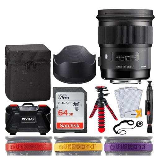 Sigma 50mm f/1.4 DG HSM Art Lens for Nikon F + 64GB Memory Card + 12 Flexible Tripod + Memory Card Hard Case 24 Slots + Lens Cleaning Pen + Top Lens Band Variety Bundle