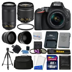 Nikon D5600 Digital SLR Camera + 16GB Top Value Bundle + 18-55mm VR + 70-300mm