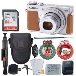Canon PowerShot G9 X Mark II Digital Camera (Silver) + SanDisk 64GB Memory Card + Point & Shoot Case + Flexible Tripod + USB Card Reader + Cleaning Kit + LCD Screen Protectors + Full Accessory Bundle